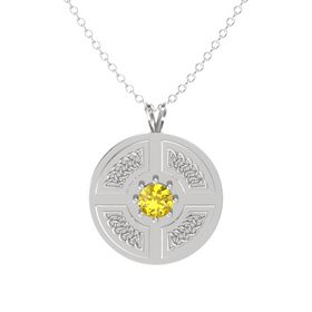Round Yellow Sapphire Sterling Silver Pendant
