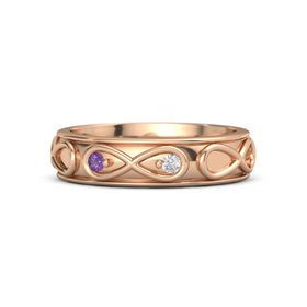 14K Rose Gold Ring with Amethyst and White Sapphire
