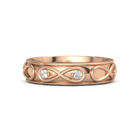 14K Rose Gold Ring with Rock Crystal and White Sapphire