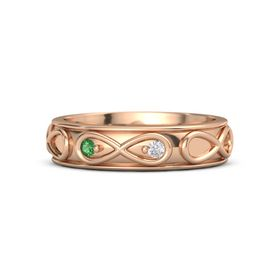 14K Rose Gold Ring with Emerald and White Sapphire