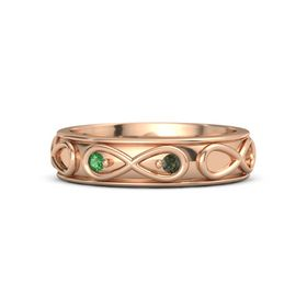 14K Rose Gold Ring with Emerald & Green Tourmaline