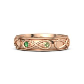14K Rose Gold Ring with Emerald and Peridot
