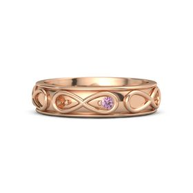 14K Rose Gold Ring with Fire Opal & Pink Sapphire