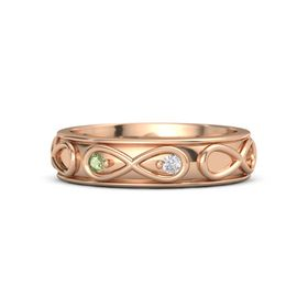 14K Rose Gold Ring with Peridot & White Sapphire