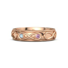 14K Rose Gold Ring with Aquamarine and Pink Sapphire