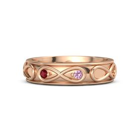 14K Rose Gold Ring with Ruby and Pink Tourmaline