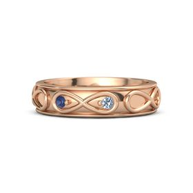 14K Rose Gold Ring with Blue Sapphire and Blue Topaz