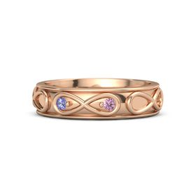 14K Rose Gold Ring with Iolite & Pink Sapphire