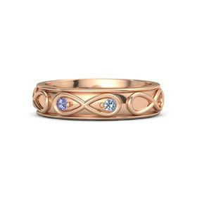14K Rose Gold Ring with Iolite & Blue Topaz