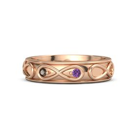 14K Rose Gold Ring with Smoky Quartz and Amethyst