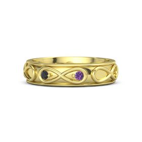 14K Yellow Gold Ring with Black Diamond and Amethyst