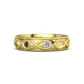 14K Yellow Gold Ring with Black Diamond and Tanzanite