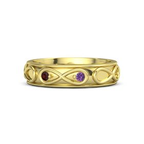 14K Yellow Gold Ring with Red Garnet & Amethyst