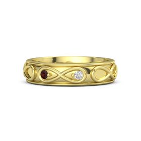 14K Yellow Gold Ring with Red Garnet and White Sapphire