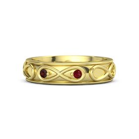 14K Yellow Gold Ring with Red Garnet and Ruby