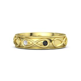 14K Yellow Gold Ring with White Sapphire and Black Diamond
