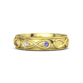 14K Yellow Gold Ring with White Sapphire & Iolite
