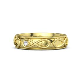 14K Yellow Gold Ring with White Sapphire and Yellow Sapphire