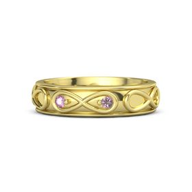14K Yellow Gold Ring with Pink Sapphire and Rhodolite Garnet
