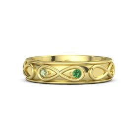 14K Yellow Gold Ring with Peridot & Emerald