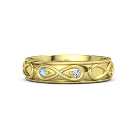 14K Yellow Gold Ring with Aquamarine and Diamond