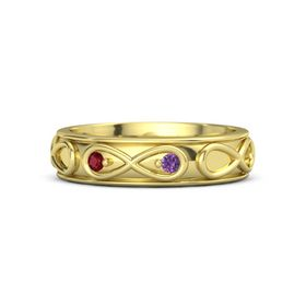 14K Yellow Gold Ring with Ruby & Amethyst