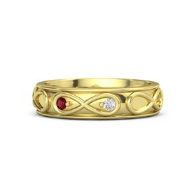 14K Yellow Gold Ring with Ruby and White Sapphire