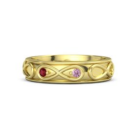 14K Yellow Gold Ring with Ruby and Pink Sapphire