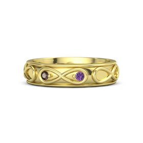 14K Yellow Gold Ring with Smoky Quartz and Amethyst