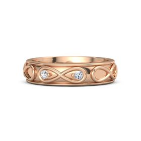 18K Rose Gold Ring with White Sapphire & Diamond