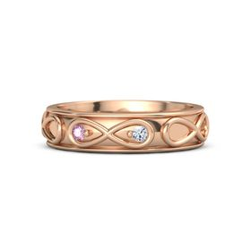 18K Rose Gold Ring with Pink Sapphire & Diamond