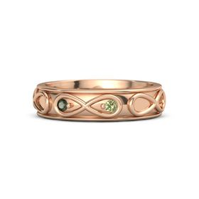 18K Rose Gold Ring with Green Tourmaline and Peridot