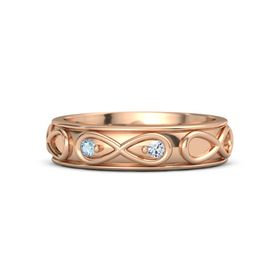 18K Rose Gold Ring with Aquamarine & Diamond