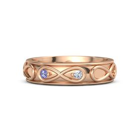 18K Rose Gold Ring with Iolite and Diamond
