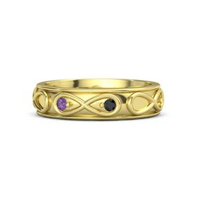18K Yellow Gold Ring with Amethyst and Black Diamond