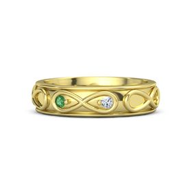 18K Yellow Gold Ring with Emerald & Diamond
