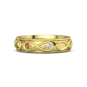 18K Yellow Gold Ring with Fire Opal and Diamond