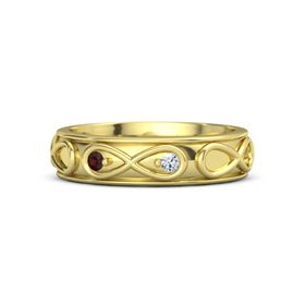 18K Yellow Gold Ring with Red Garnet & Diamond