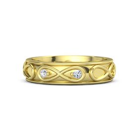 18K Yellow Gold Ring with White Sapphire & Diamond