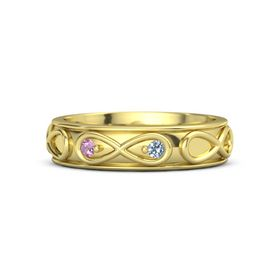 18K Yellow Gold Ring with Pink Tourmaline and Blue Topaz