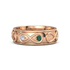 14K Rose Gold Ring with Diamond and Alexandrite