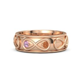 14K Rose Gold Ring with Pink Tourmaline & Fire Opal