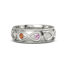 14K White Gold Ring with Fire Opal & Pink Tourmaline