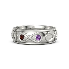 14K White Gold Ring with Red Garnet & Amethyst