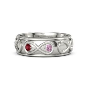 14K White Gold Ring with Ruby & Pink Sapphire