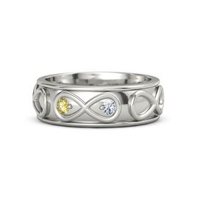 14K White Gold Ring with Yellow Sapphire & Diamond