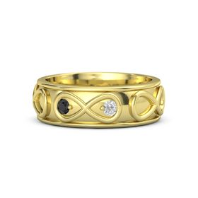 14K Yellow Gold Ring with Black Diamond & White Sapphire
