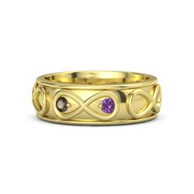 14K Yellow Gold Ring with Smoky Quartz & Amethyst