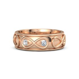 18K Rose Gold Ring with White Sapphire and Diamond