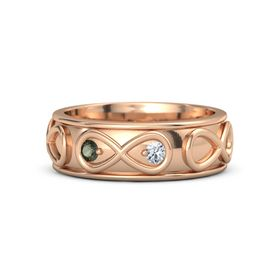 18K Rose Gold Ring with Green Tourmaline & Diamond